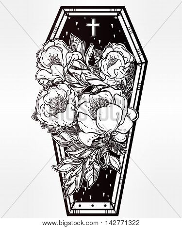 Decorative coffin in flash tattoo style with dark romantic wild rose flowers and cross. Vector illustration isolated. Adult coloring book page, mystic magic symbol for your use. Retro inspired art.