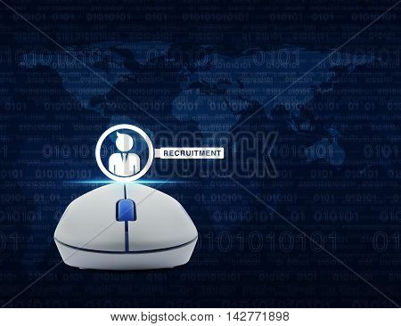 Wireless computer mouse with businessman and magnifying glass icon over computer binary code blue background Recruitment concept Elements of this image furnished by NASA