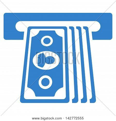 Cashpoint Terminal icon. Vector style is flat iconic symbol with rounded angles, cobalt color, white background.