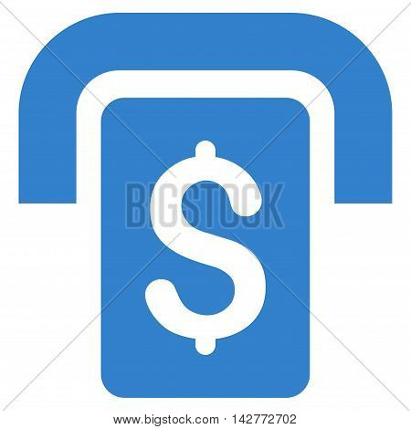 Cashpoint icon. Vector style is flat iconic symbol with rounded angles, cobalt color, white background.