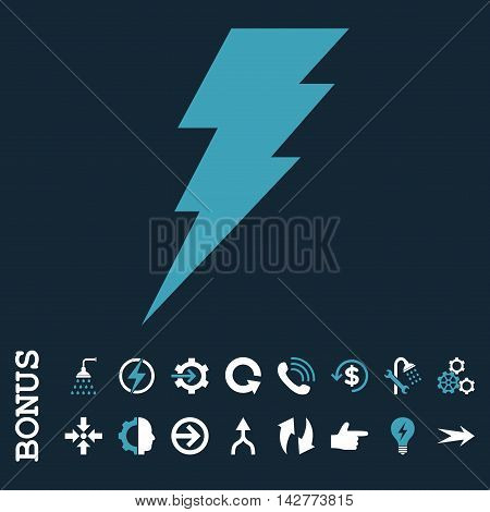Execute vector bicolor icon. Image style is a flat pictogram symbol, blue and white colors, dark blue background.