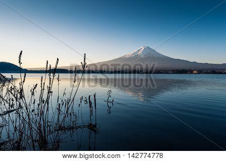Mount Fuji view from the lake kawaguchi