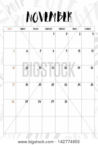 Vector,2017 Calendar November Month With Table On 2017 Pattern Background, Fit On A4 Size
