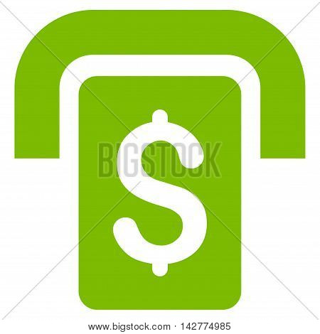 Cashpoint icon. Vector style is flat iconic symbol with rounded angles, eco green color, white background.