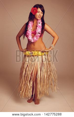 Beautiful hawaiian hula dancer girl