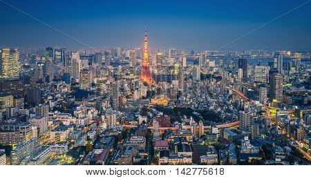 Skyline Of Tokyo Cityscape With Tokyo Tower At Night, Japan