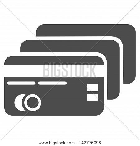 Banking Cards icon. Vector style is flat iconic symbol with rounded angles, gray color, white background.