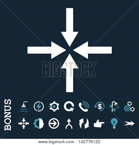 Impact Arrows vector bicolor icon. Image style is a flat iconic symbol, blue and white colors, dark blue background.