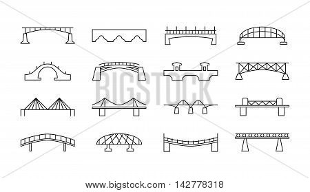 Bridges vector thin line icons. Set of bridge in linear style, illustration of bridges for transport