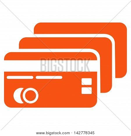Banking Cards icon. Vector style is flat iconic symbol with rounded angles, orange color, white background.