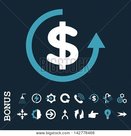 Refund vector bicolor icon. Image style is a flat pictogram symbol, blue and white colors, dark blue background.