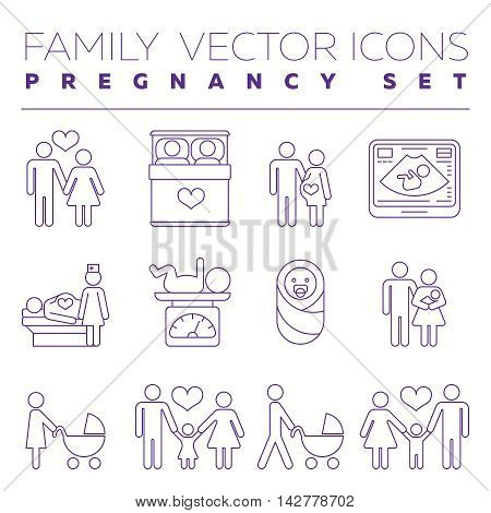 Family health care and pregnancy medicine thin line vector icons. Family with pregnant woman, illustration of creation of young family