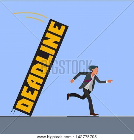 scared man in a suit trying to escape from deadline
