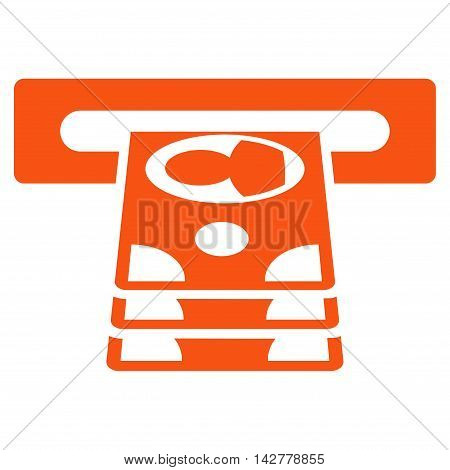 Cashpoint icon. Vector style is flat iconic symbol with rounded angles, orange color, white background.