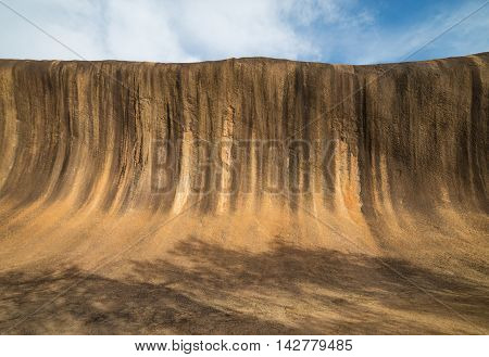 Fantastic Wave Rock in the Wave Rock Wildlife Park near Hyden in Western Australia.Front view.