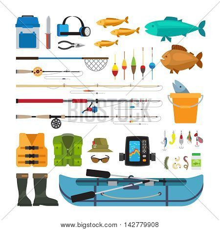 Fishing vector flat icons isolated on white background. Fishing boat, rod and equipment, landing net and spinning