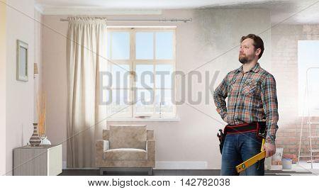 Adult engineer man . Mixed media