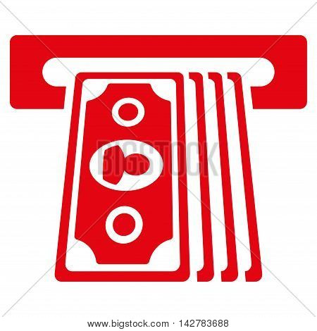 Cashpoint Terminal icon. Vector style is flat iconic symbol with rounded angles, red color, white background.