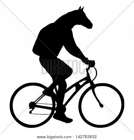 horse head bicyclist riding a bicycle isolated on white background silhouette vector illustration.