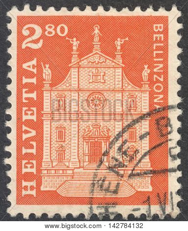 MOSCOW RUSSIA - CIRCA JUNE 2016: a post stamp printed in SWITZERLAND shows Sts. Peter and Stephen Church Bellinzona circa 1963