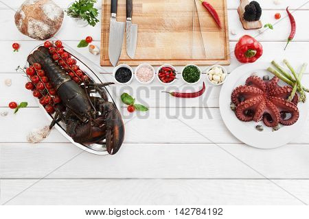 Ingredients for cooking, raw food, flat lay. Top view on products, prepared for making mediterranean meal, white wooden background. Italian cuisine, culinary classes, restaurant kitchen concept