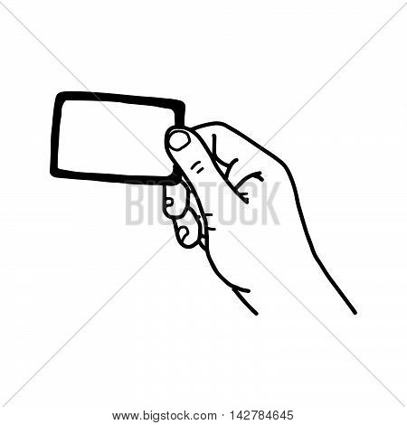 illustration vector hand drawn sketch of hand holding blank card isolated on white background