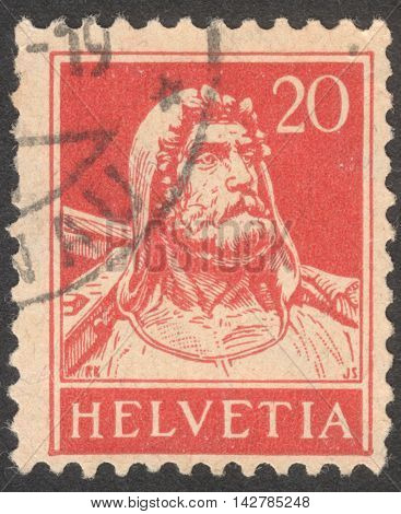 MOSCOW RUSSIA - CIRCA JULY 2016: a stamp printed in SWITZERLAND shows a portrait of William Tell Definitive Issues circa 1921-1924