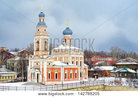 The city of Serpukhov in Russia, the Moscow region. View of ancient Church in winter.