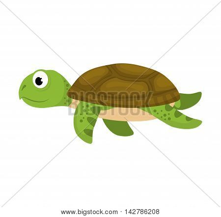 tortoise sea life animal cartoon icon. Isolated and flat illustration. Vector graphic