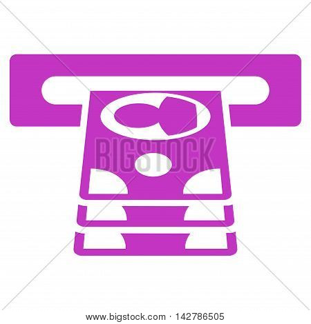 Cashpoint icon. Vector style is flat iconic symbol with rounded angles, violet color, white background.