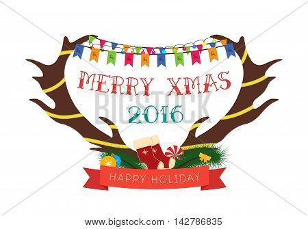 Greeting Card with antlers on white background. Merry Christmas lettering. Vector illustration