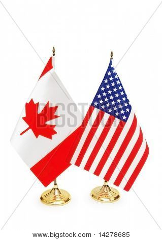 Usa and Canada flags isolated on white