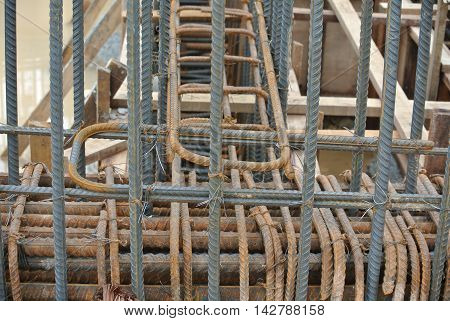 SELANGOR, MALAYSIA -MAY 18, 2016: Hot rolled deformed steel bars or steel reinforcement bar tied together before cast in the concrete. Its function is to increase the concrete strength.