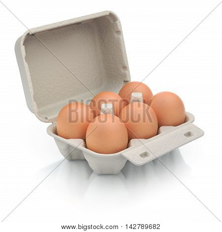 Six eggs in a carton package on white reflective background - 3D illustration
