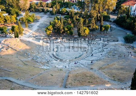 Remains of The Theatre of Dionysus Eleuthereus in Athens Greece