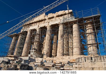 The Parthenon under renovation on the Athenian Acropolis Greece.