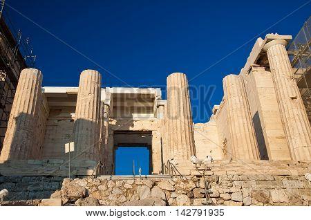The Propylaea Athens Greece. In the citi centr.