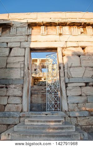 Detail of the Propylaea in Athens Greece.