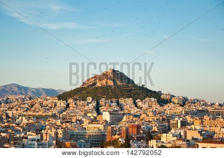 ATHENS-AUGUST 4: Mount Lycabettus seen from the Acropolis of Athens on August 4 2013 in Athens Greece.