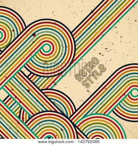 Vector retro design. Template background whit colors stripes print. Vintage illustration with place for text.