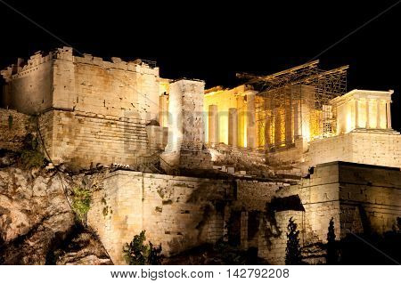 Acropolis of Athens at night from Areopagus hill.