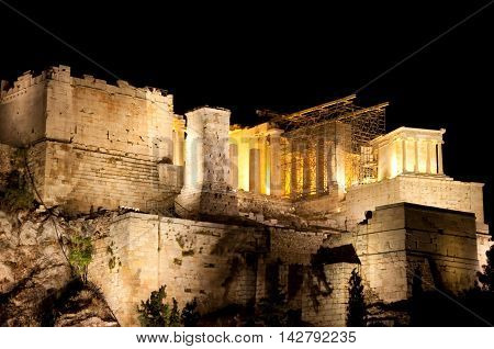 View of the Acropolis of Athens at night from Areopagus hill.