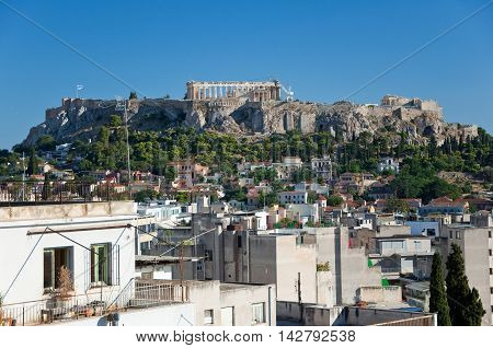 Aerial view of the Acropolis of Athens. Greece.