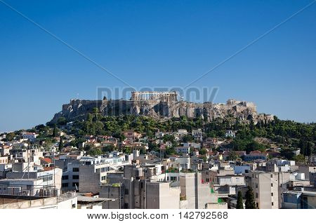 Panoramic view of the Acropolis in Athens. Greece.