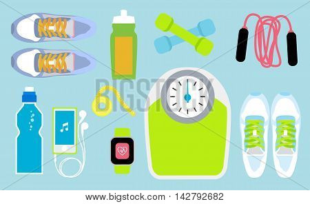 Set of fitness tools. Including sneakers, smart watches, water bottle, smartphone and scale. Workout with dumbbells. Health and sport. Gym concept.