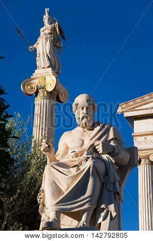 The statue of Plato. Athens Greece. In the citi centr.