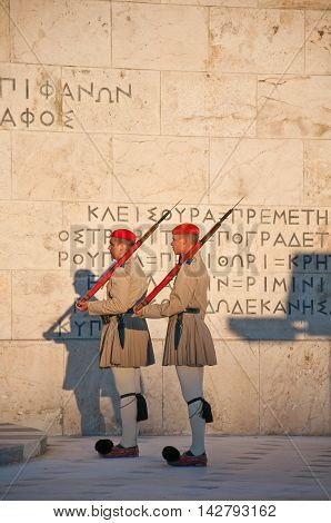 Evzones guard the Tomb of the Unknown Soldier on August 4 2013 in Athens Greece.