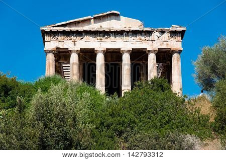 View of The Temple of Hephaestus in ancient Agora. Athens Greece.