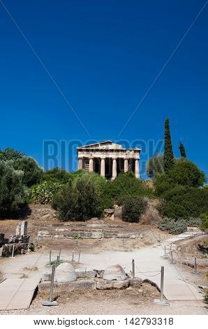View of The Temple of Hephaestus in Agora. Athens Greece.