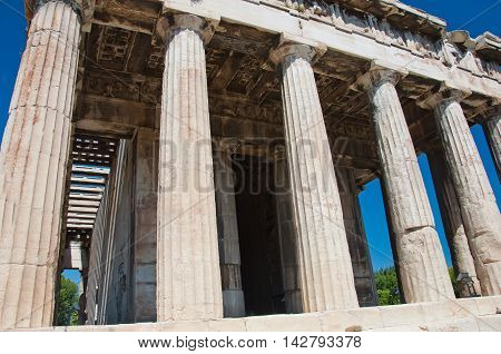 The Temple of Hephaestus in ancient Agora. Athens Greece.
